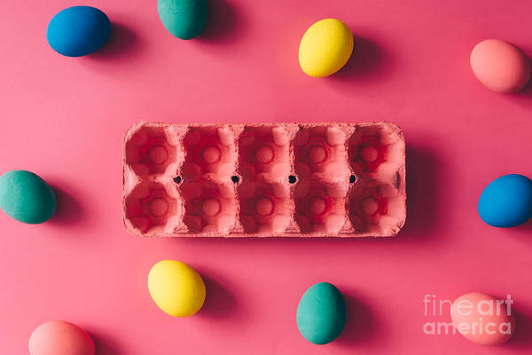 Wall Art - Photograph - Colorful Easter Eggs On Pink Background by Zamurovic Photography