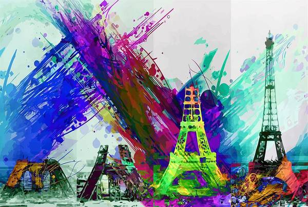 Wall Art - Painting - Colorful Eiffel Tower by ArtMarketJapan