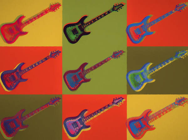 Wall Art - Painting - Colorful Electric Guitars Pop Art by Dan Sproul