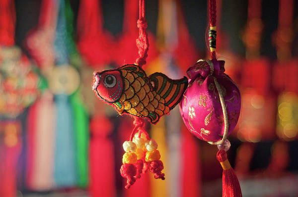 Xi Photograph - Colorful Fabric Fish And Sachet by Eastimages