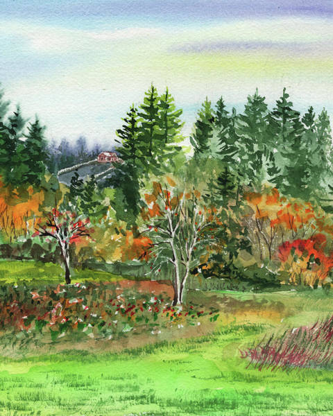 Wall Art - Painting - Colorful Fall Watercolor Landscape by Irina Sztukowski