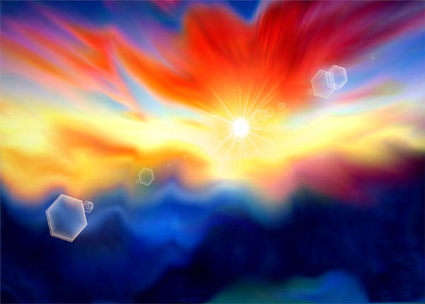 Digital Art - Colorful Fantasy Sunrise With Flare  by Shelli Fitzpatrick