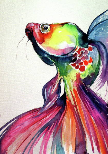 Wall Art - Painting - Colorful Fish L by Kovacs Anna Brigitta