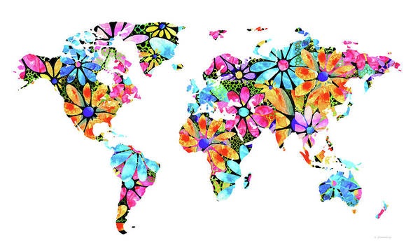Wall Art - Painting - Colorful Floral Map - Flower Power - Sharon Cummings by Sharon Cummings