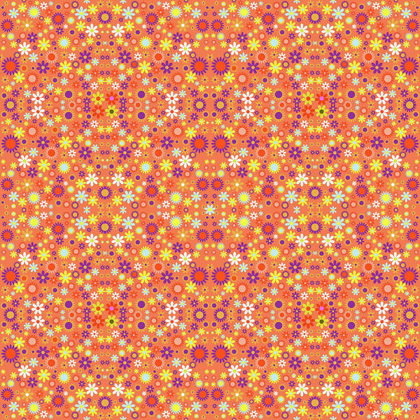 Groovy Mixed Media - Living Coral Colorful Flower Power  by Gravityx9 Designs