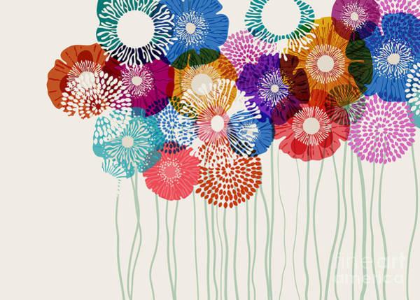 Wall Art - Digital Art - Colorful Flower Background, Eps10 Vector by Anita Ponne