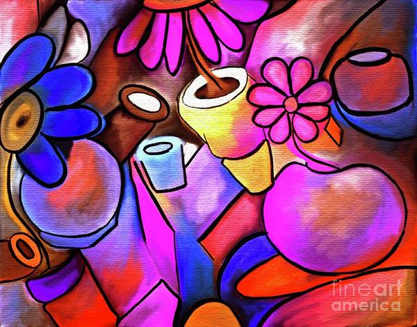Jug Digital Art - Colorful Flowerpots Abstract by Laurie's Intuitive