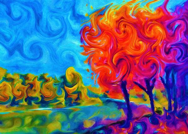 Wall Art - Painting - Colorful Forest by ArtMarketJapan