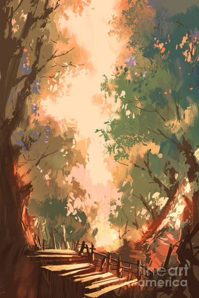 Wall Art - Digital Art - Colorful Forest Background by Tithi Luadthong