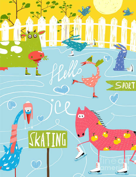 Wall Art - Digital Art - Colorful Fun Cartoon Farm Ice Skating by Popmarleo