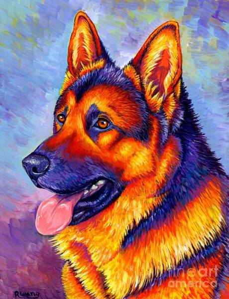 Painting - Colorful German Shepherd Dog by Rebecca Wang