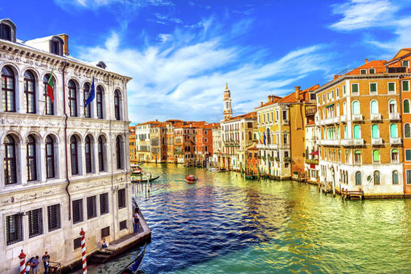 Wall Art - Photograph - Colorful Grand Canal From Rialto by William Perry