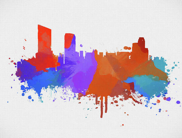 Grand Rapids Painting - Colorful Grand Rapids Skyline by Dan Sproul