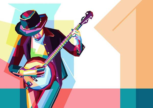 Wall Art - Digital Art - Colorful Guitarist by ArtMarketJapan