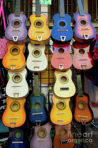 Wall Art - Photograph - Colorful Guitars On Display, San by Mike Gonzales