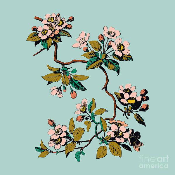Wall Art - Digital Art - Colorful Hand Drawn Sakura Branch by Cosveta
