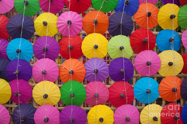 Repetition Wall Art - Photograph - Colorful Handmade Umbrellas Bo Sang by Teerapon1979