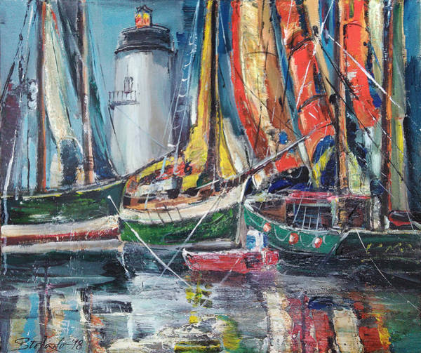 Painting - Colorful Harbor by Stefano Popovski