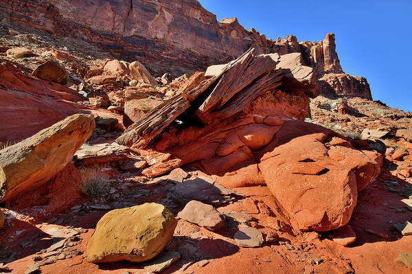 Photograph - Colorful Hillside Boulders In Utah by Ray Mathis