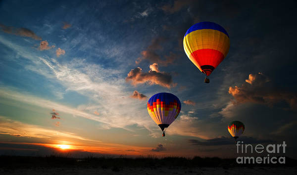 Wall Art - Photograph - Colorful Hot Air Balloon Is Flying At by Rozbyshaka