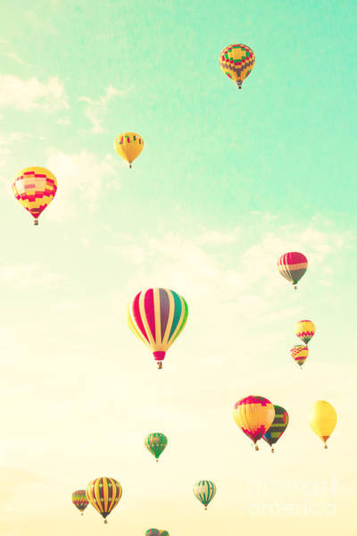 Wall Art - Photograph - Colorful Hot Air Balloons In A Green by Andrekart Photography