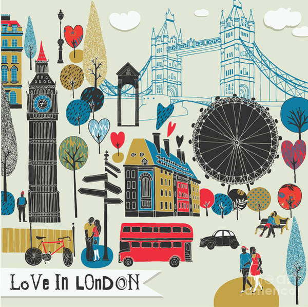 Wall Art - Digital Art - Colorful Illustration Of London by Lavandaart