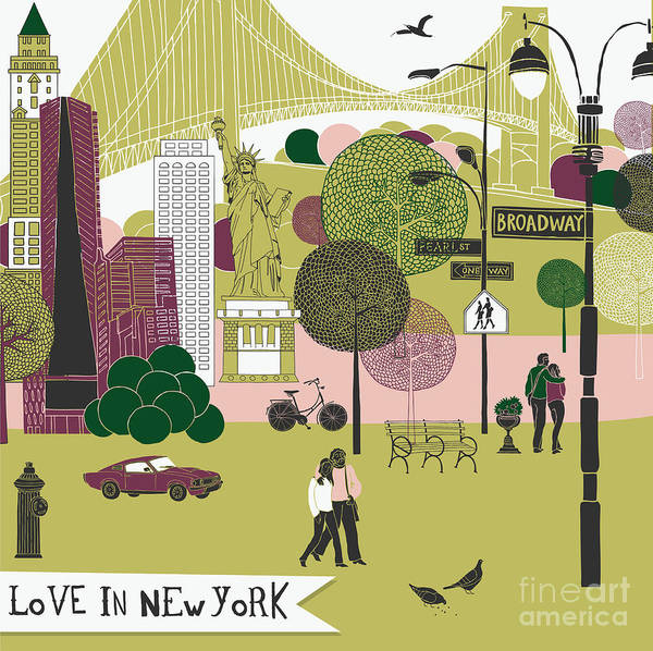 Wall Art - Digital Art - Colorful Illustration Of New York by Lavandaart