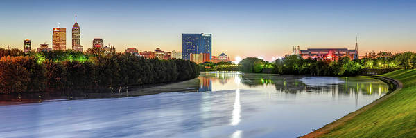 Photograph - Colorful Indianapolis Skyline Panorama Over The White River by Gregory Ballos