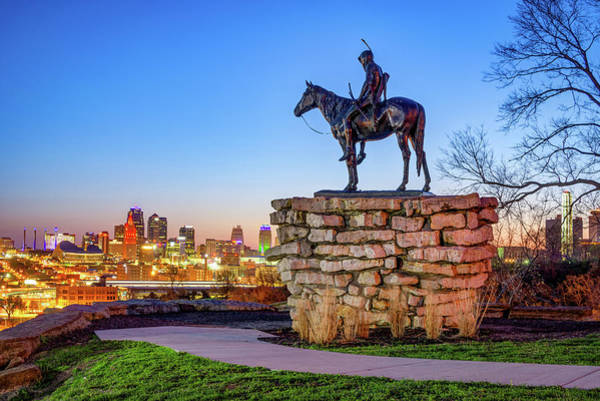 Photograph - Colorful Kansas City Skyline And The Scout by Gregory Ballos