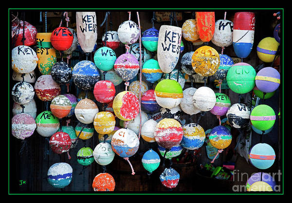 Wall Art - Photograph - Colorful Key West Lobster Buoys With Border by John Stephens