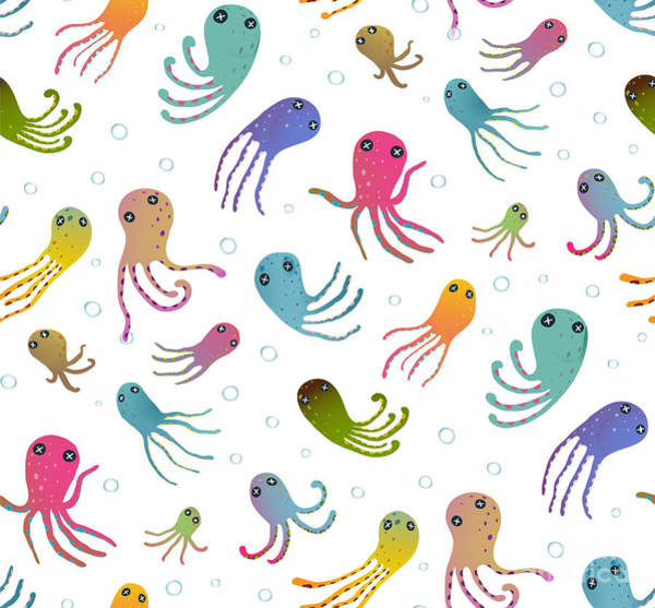Wall Art - Digital Art - Colorful Kids Cartoon Octopus Seamless by Popmarleo