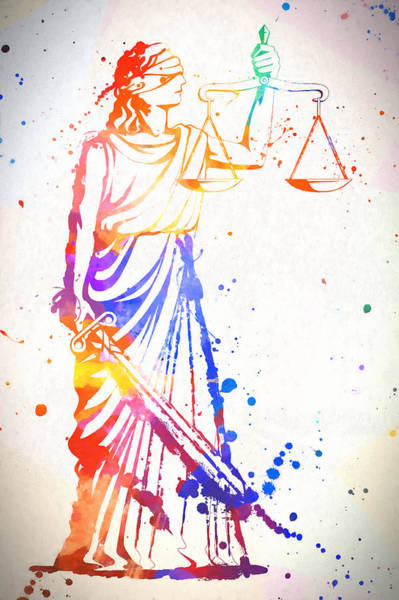 Painting - Colorful Lady Justice by Dan Sproul
