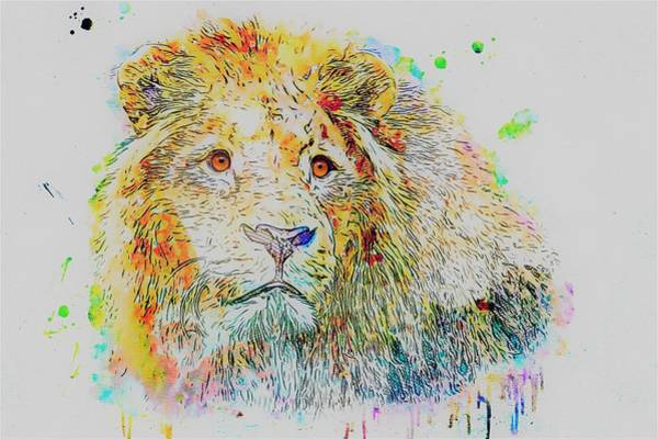 Wall Art - Painting - Colorful Lion by ArtMarketJapan