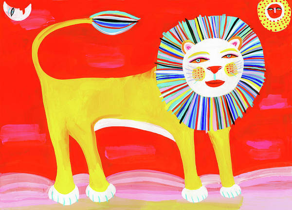 Digital Art - Colorful Lion by Christopher Corr