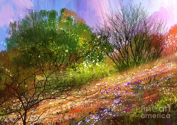 Scenery Digital Art - Colorful Meadow,landscape Digital by Tithi Luadthong