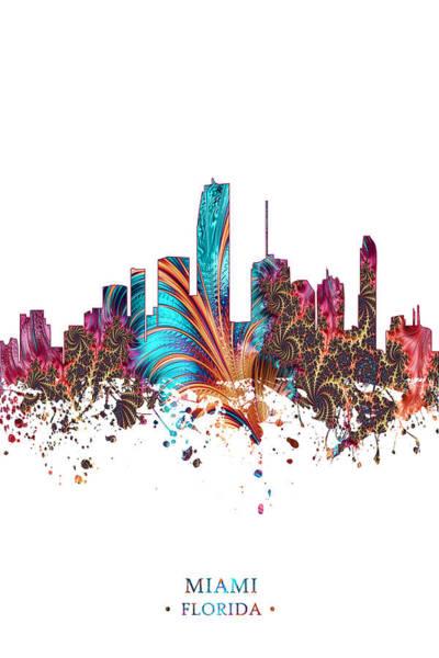 City Scape Digital Art - Colorful Miami by Tim Palmer