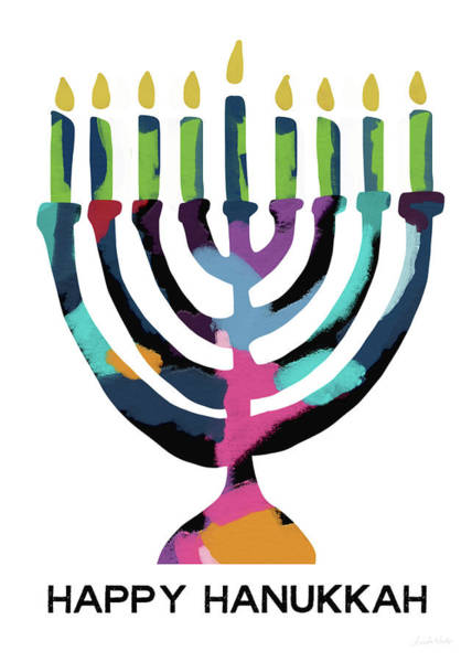 Wall Art - Mixed Media - Colorful Modern Menorah- Art By Linda Woods by Linda Woods