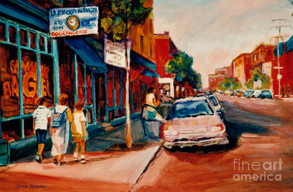 Painting - Colorful Montreal Streets  C Spandau Canadian Cityscene Artist Mile End Plateau Quebec Fine Art  by Carole Spandau