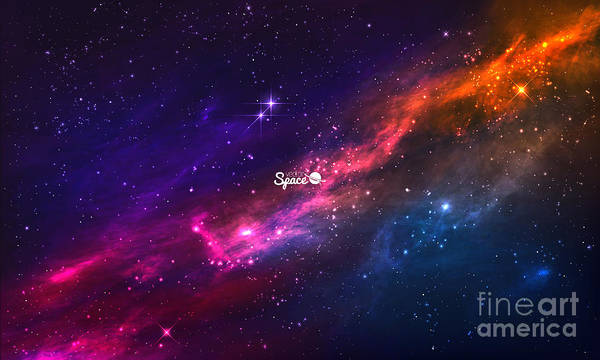 Cosmic Wall Art - Digital Art - Colorful Nebula In Space Background by Nickmoz