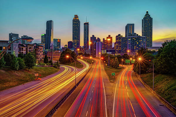 Wall Art - Photograph - Colorful Night Over The Atlanta Skyline by Gregory Ballos