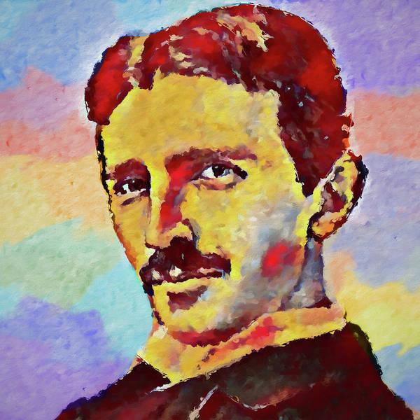 Wall Art - Painting - Colorful Nikola Tesla by Dan Sproul