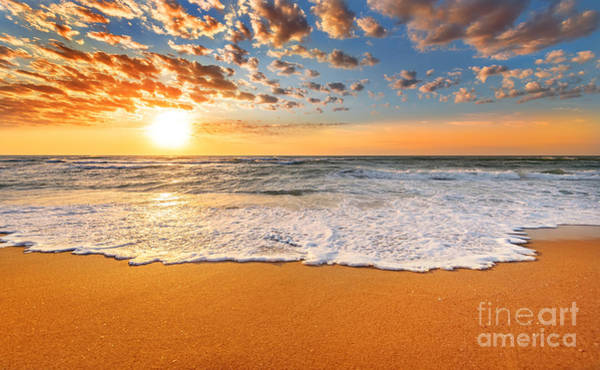 Maui Sunset Wall Art - Photograph - Colorful Ocean Beach Sunrise by Vrstudio