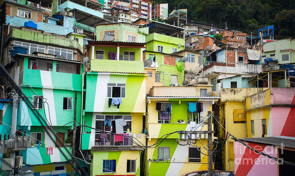 Wall Art - Photograph - Colorful Painted Buildings Of Favela by Skreidzeleu