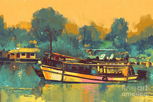 Wall Art - Digital Art - Colorful Painting Of Boat For The by Tithi Luadthong