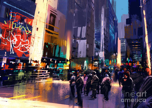 Scenery Digital Art - Colorful Painting Of City by Tithi Luadthong