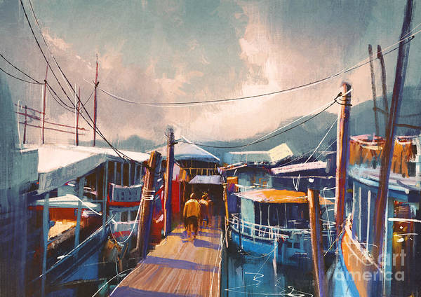 Harbor Wall Art - Digital Art - Colorful Painting Of Fishing Boats In by Tithi Luadthong