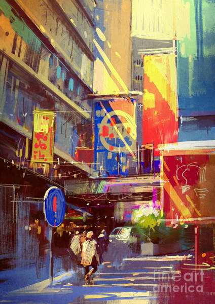 Wall Art - Digital Art - Colorful Painting Of Urban by Tithi Luadthong