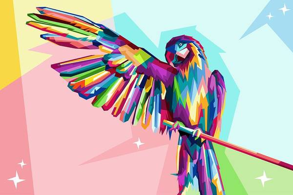 Parrot Digital Art - Colorful Parrot by ArtMarketJapan