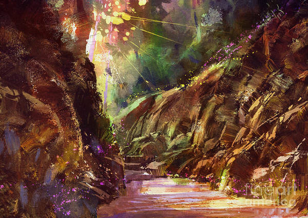 Wall Art - Digital Art - Colorful Path In The Mountain,digital by Tithi Luadthong