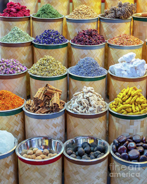Wall Art - Photograph - Colorful Piles Of Spices In Dubai  by Delphimages Photo Creations